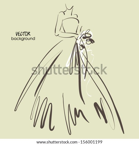 art sketch #6 of beautiful young  bride with the bride's bouquet. Vector background with space for text. - stock vector
