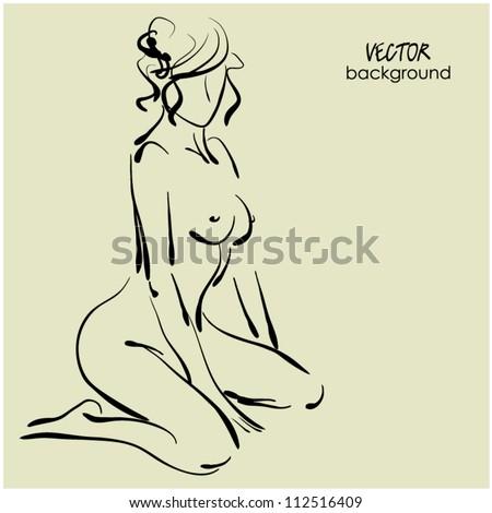 art sketch of beautiful young kneeling sexy woman - stock vector