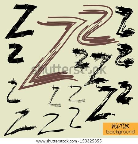 art sketch set of vector character fonts symbols, sign Z - stock vector