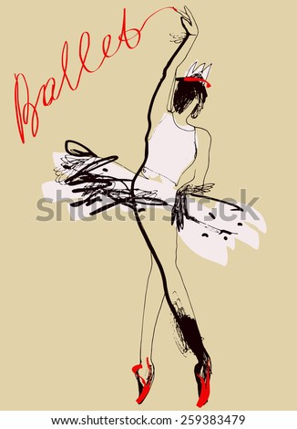 Art sketched ballerina in ballet pose. Hand drawn vector illustration. - stock vector