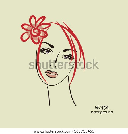 art sketched beautiful girl face with flower and straight hair in vector - stock vector