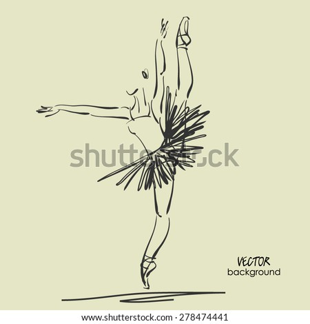 art sketched beautiful young ballerina with tutu high raised her leg in pose of dance. Vector illustration - stock vector