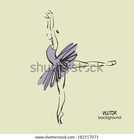 art sketched beautiful young ballerina with tutu in ballet pose - stock vector