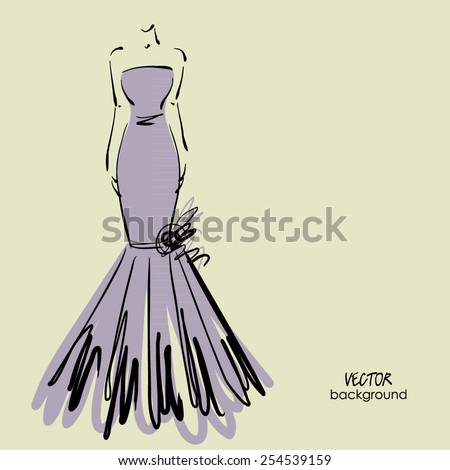 art sketched beautiful young  bride in lilac dress with the bride's bouquet. Vector background with space for text. - stock vector