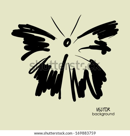 art sketched black butterfly symbols in vector - stock vector