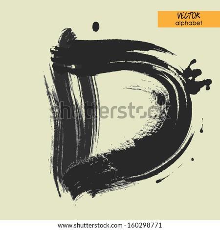 Alphabet in vector black grungy font sign d stock vector