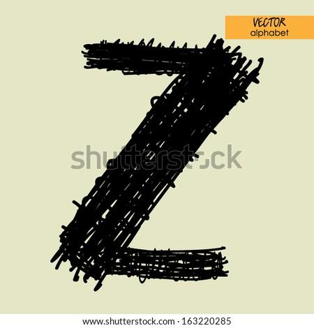 Alphabet in vector black grungy ink font sign z stock vector