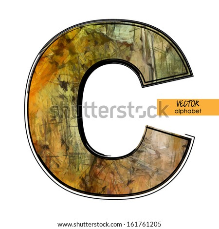 art sketched stylization alphabet in vector, colorful font, sign C
