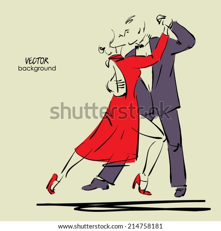 art sketched tango dancers in vector - stock vector