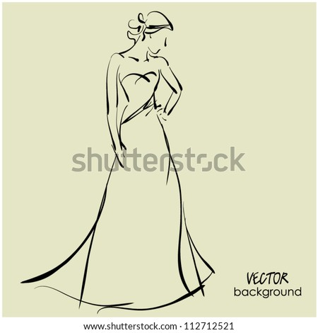 art sketching beautiful young  bride in white dress. Vector background with space for text. Raster version is also in my gallery. - stock vector