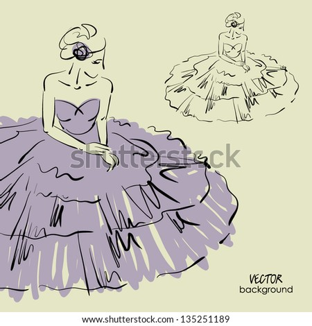 art sketching of beautiful sitting young bride in elegance dress, sketch vector - stock vector
