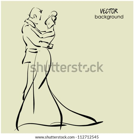 art sketching of beautiful young  bride and groom in dance. Vector background with space for text. - stock vector