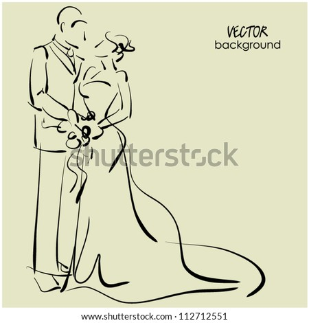 art sketching of beautiful young  bride and groom with the bride's bouquet. Sketchy vector background with space for text. Raster version is also in my gallery. - stock vector