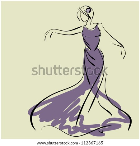 art sketching of beautiful young  bride in dance. Sketchy vector with space for text. - stock vector