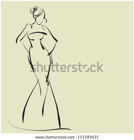 art sketching of beautiful young bride. Sketchy vector background with space for text - stock vector