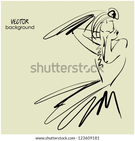 art sketching of beautiful young  bride. Vector background with space for text. - stock vector