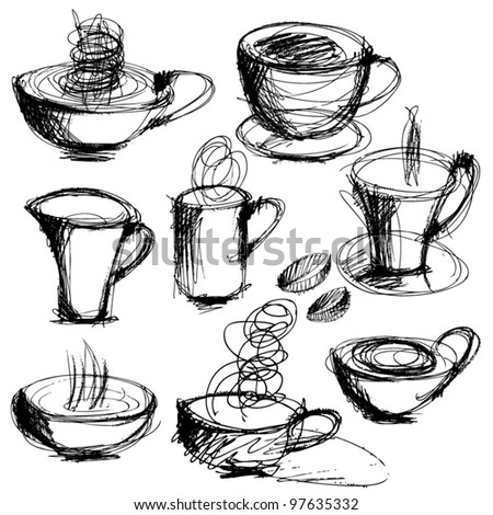 art sketching set of coffee and tea cups - stock vector