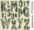 art sketching set of vector character font  symbols - stock vector