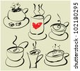 art sketching set of vector coffee and tea symbols - stock vector