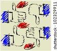 art sketching set of vector hands  symbols - stock photo