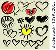 art sketching set of vector heart symbols - stock photo