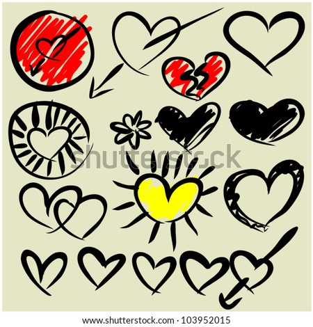 art sketching set of vector heart symbols - stock vector