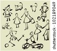 art sketching set of vector people  symbols - stock photo