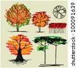 art sketching set #17 of vector trees symbols - stock vector