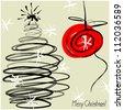 art sketching vector christmas tree  and ball - stock vector