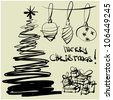 art sketching vector christmas tree and ball symbols - stock vector