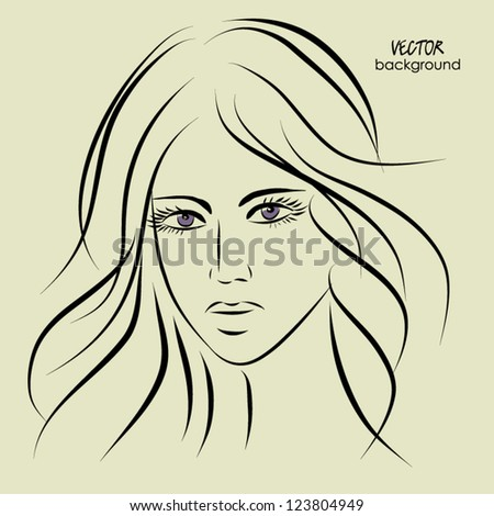 art sketching vector girl face  symbols with space for text