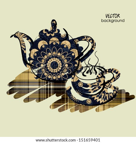 art sketching vector of teapot and cup on table in blue, brown and beige colors - stock vector