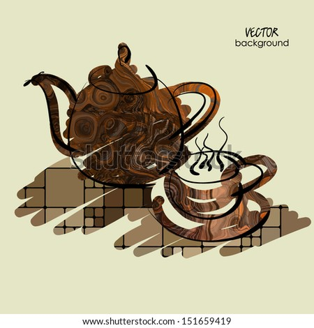 art sketching vector of teapot and cup on table in brown color - stock vector