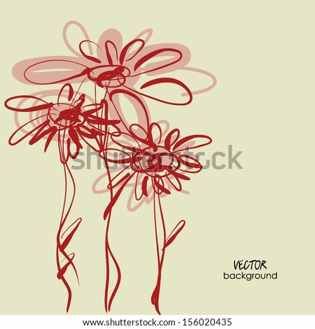 art sketchy tree flowers for holidays, with space for text - stock vector