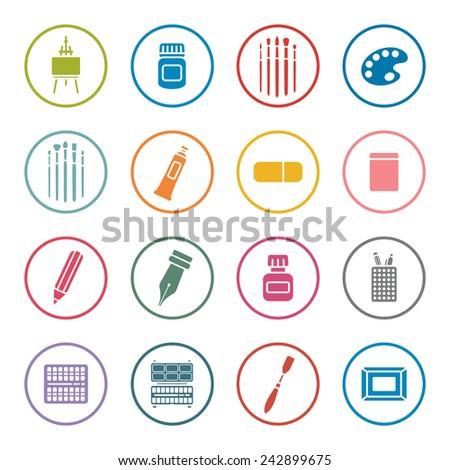 Art supplies icon set - stock vector