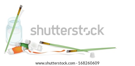 Art Supply, High Angel View of Craft Paintbrush or Artist Brush and Color Tubes with A Water Glass Jar Isolated on White Background.  - stock vector