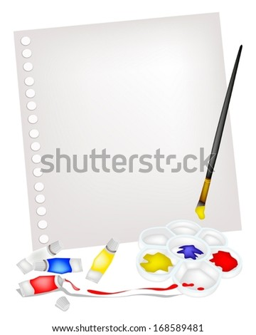 Art Supply, Paint Tubes and Plastic Art Palette With A Craft Paintbrushes or Artist Brushes Lying on Blank Spiral Paper for Draw and Paint A Picture.  - stock vector