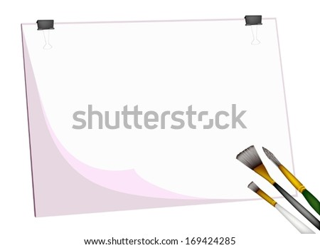 Art Supply, Three Craft Paintbrush or Artist Brushes Laying on Art Board or Artist Clipboard with Copy Space for Paint and Draw A Picture.  - stock vector