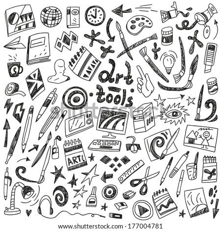 art tools - doodles set - stock vector