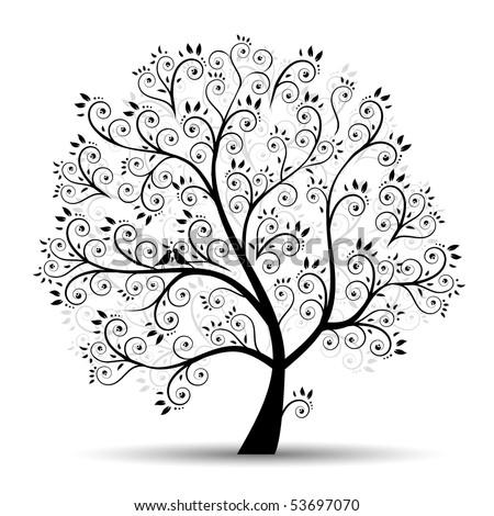 Art tree beautiful, black silhouette - stock vector