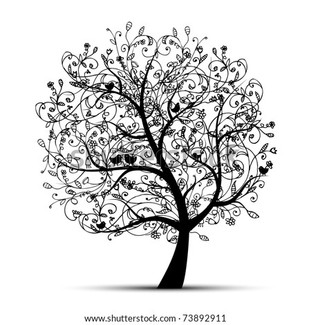 Art tree beautiful, black silhouette for your design - stock vector