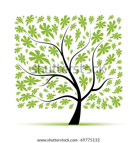 Art tree beautiful for your design - stock vector
