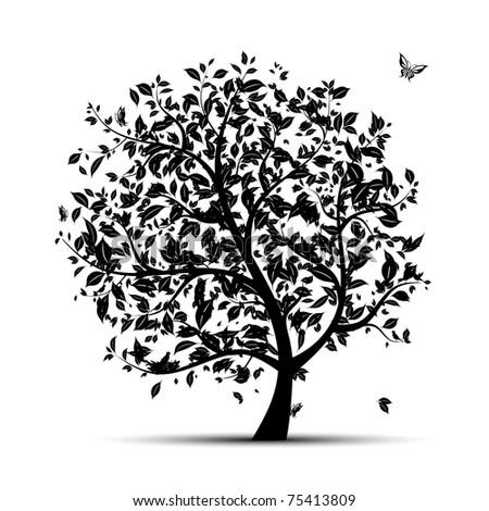 Art tree black silhouette for your design - stock vector