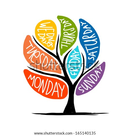 Art tree design with 7petal days of week - stock vector