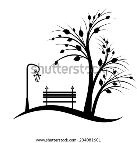 art tree silhouette isolated on white background - stock vector