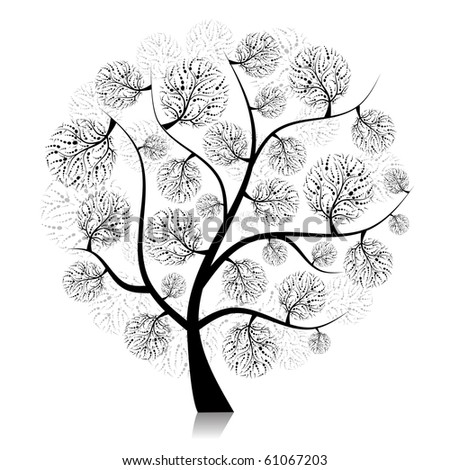 Art tree silhouette on white for your design - stock vector