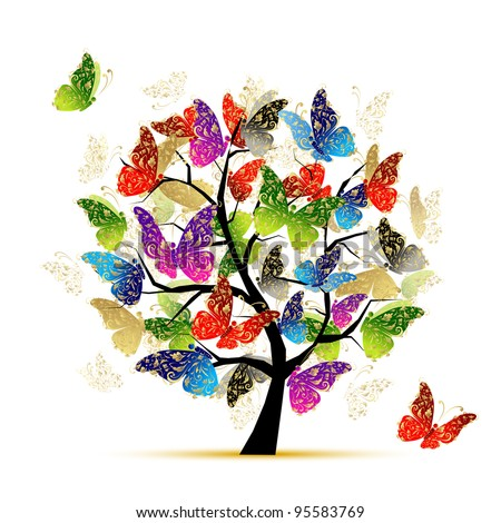 Art tree with butterflies for your design - stock vector