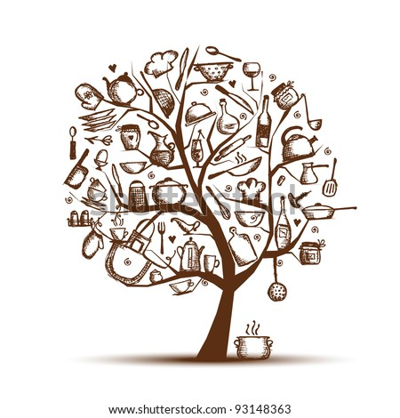 Art tree with kitchen utensils, sketch drawing for your design - stock vector