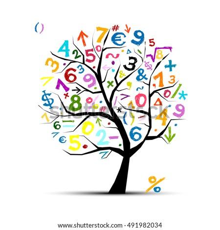 Art Tree Math Symbols Your Design Stock Vector Royalty Free