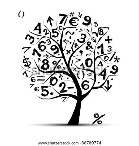 Art tree with math symbols for your design - stock vector